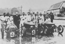 Morgan 3 wheeler Team, Lones, Laird & Rhodes at Brooklands 1934 Relay Race